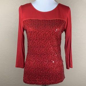 Calvin Klein Red Sequin Blouse
